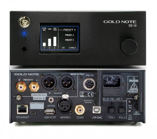 GOLD NOTE DS 10 THE NEW 4 IN 1: D/A CONVERTER, STREAMER, LINE PRE AMPLIFIER & HEADPHONE AMP
